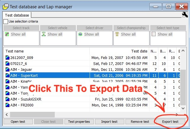 How to export AIM data - how to export from the database and lap manager