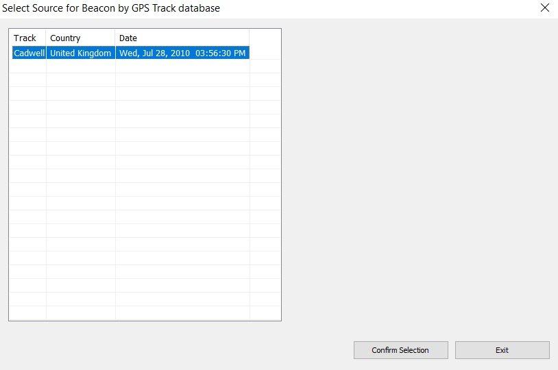 GPS track database dialogue